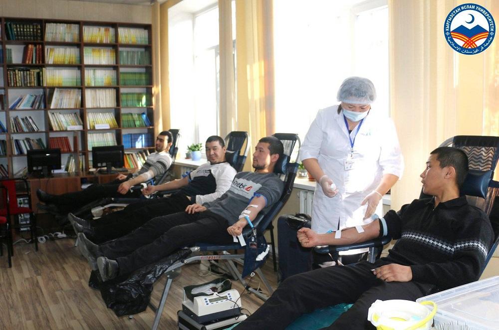 Кыргызстан Ислам Университетинин мугалимдери жана студенттери республикалык кан борборунун көчмө топ бөлүмүнө өз каалоолору менен кан тапшырышты