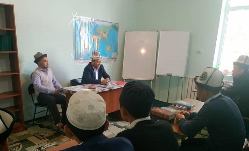 Азирети Муфтийдин орун басары Жоробай ажы Шергазыев Муаз ибн Жабал медресесинин студенттери менен жолугушту